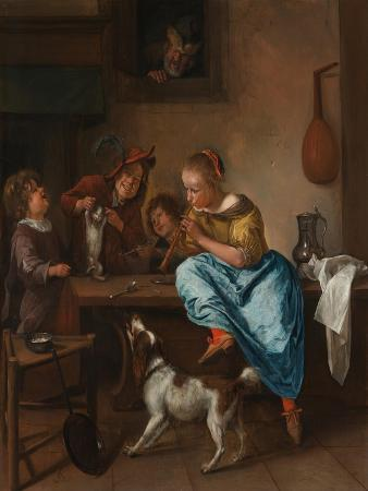 jan-havicksz-steen-children-teaching-a-cat-to-dance-the-dancing-lesso-between-1660-and-1670