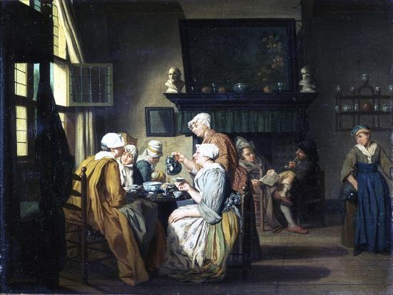 jan-josef-the-elder-horemans-bourgeois-interior-with-ladies-drinking-tea-a-man-reading-by-the-fireplace