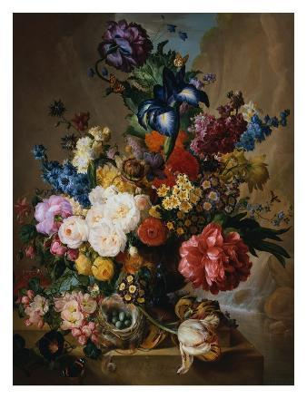 jan-van-os-poppies-peonies-and-other-assorted-flowers-in-a-terracotta-vase-on-a-stone-plinth-with-a-bird-s-ne