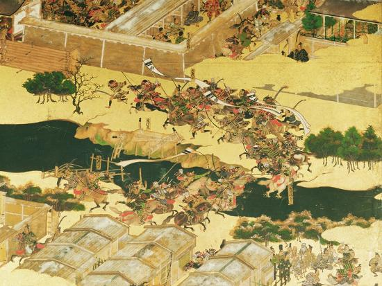 japanese-school-the-battle-of-hogen-from-a-screen-momayama-period