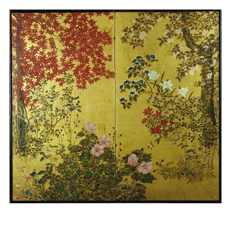 japanese-screen-with-trees-and-flowering-plants