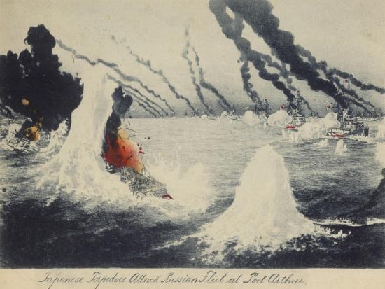 japanese-torpedoes-attack-russian-fleet-at-port-arthur-russo-japanese-war-1904
