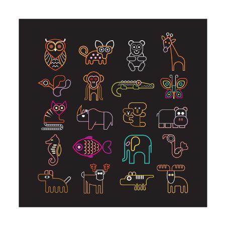jazzia-set-of-neon-animal-icons