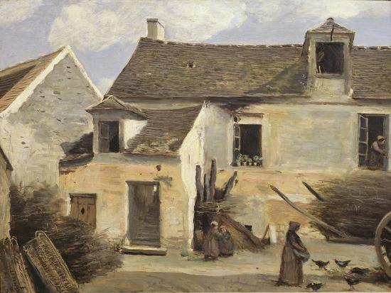jean-baptiste-camille-corot-courtyard-of-a-bakery-near-paris-or-courtyard-of-a-house-near-paris-c-1865-70