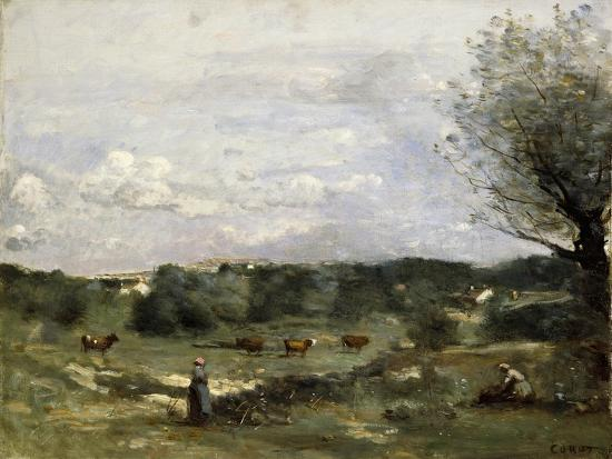 jean-baptiste-camille-corot-meadow-with-cows-a-willow-on-the-right-and-a-distant-village