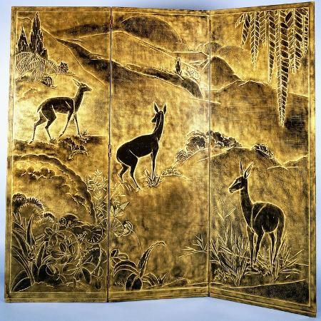 jean-dunand-a-three-fold-lacquer-screen-depicting-deer-in-a-landscape-of-hills