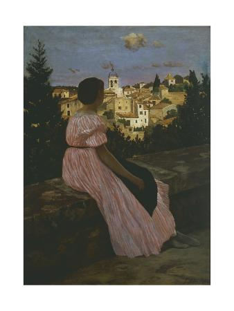 jean-frederic-bazille-the-red-dress-or-look-on-castelnau-le-lez-1864