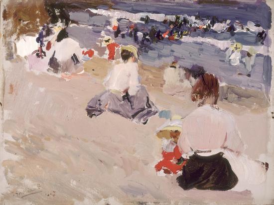 joaquin-sorolla-y-bastida-people-sitting-on-the-beach-1906