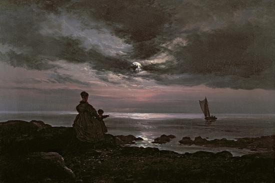 johan-christian-dahl-mother-and-child-by-the-sea-1840