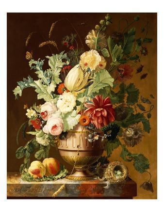 johannes-hendrik-fredriks-roses-a-tulip-a-peony-marigolds-hollyhocks