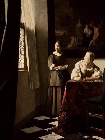 johannes-vermeer-lady-writing-a-letter-with-her-maid-circa-1670