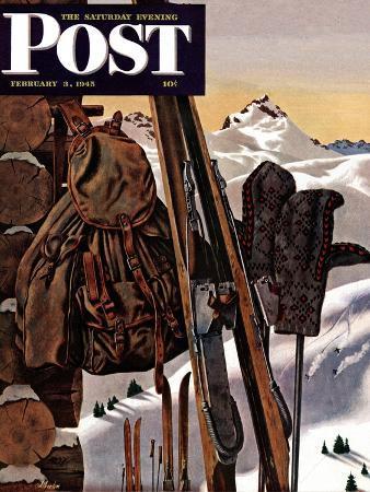 john-atherton-ski-equipment-still-life-saturday-evening-post-cover-february-3-1945