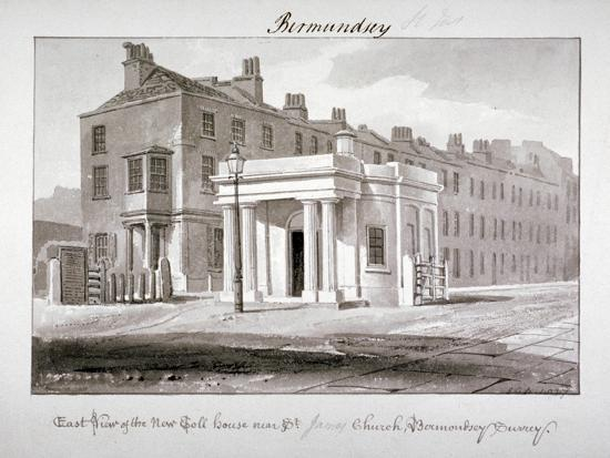 john-chessell-buckler-east-view-of-the-new-toll-house-near-st-james-church-bermondsey-london-1827
