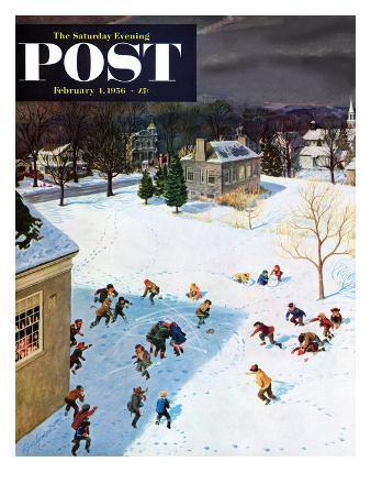 john-clymer-snowball-recess-saturday-evening-post-cover-february-4-1956