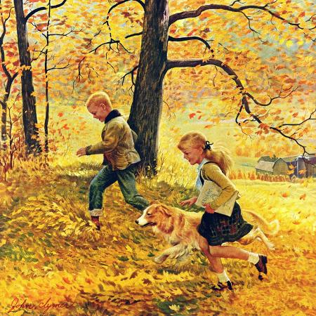 john-clymer-walking-home-through-leaves-october-7-1950