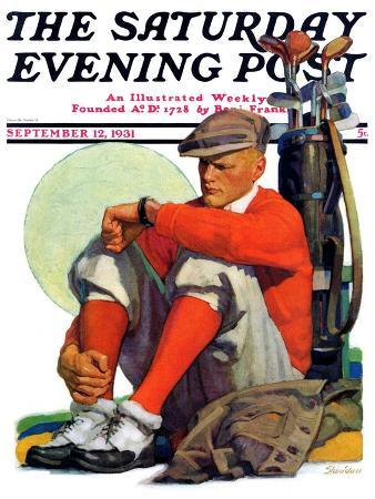 john-e-sheridan-golfer-kept-waiting-saturday-evening-post-cover-september-12-1931