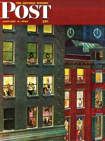 john-falter-apartment-dwellers-on-new-year-s-eve-saturday-evening-post-cover-january-3-1948
