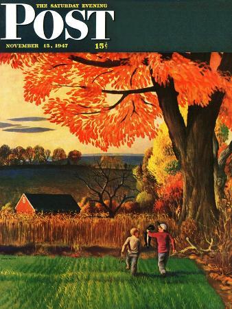john-falter-bringing-home-the-skunk-saturday-evening-post-cover-november-15-1947
