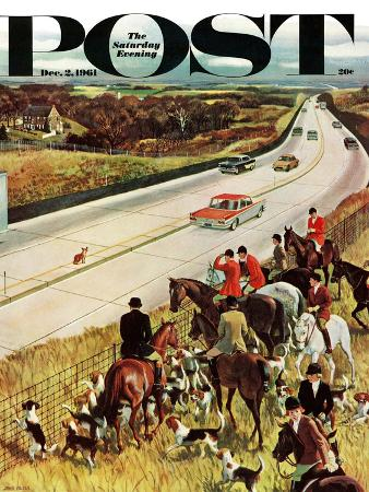 john-falter-foxhunters-outfoxed-saturday-evening-post-cover-december-2-1961