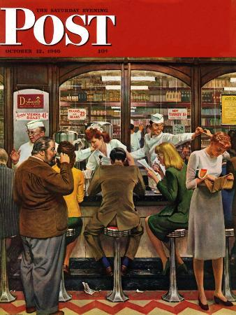 john-falter-lunch-counter-saturday-evening-post-cover-october-12-1946