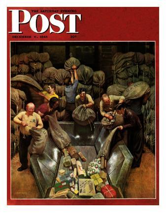 john-falter-post-office-sorting-room-saturday-evening-post-cover-december-8-1945