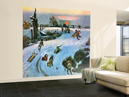 john-falter-sledding-by-sunset-december-18-1948