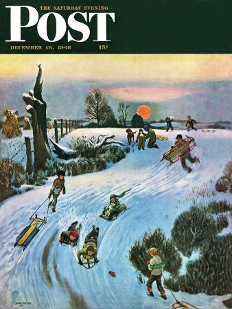 john-falter-sledding-by-sunset-saturday-evening-post-cover-december-18-1948