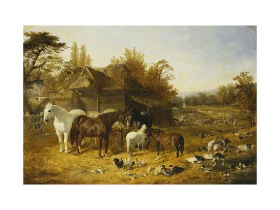 john-frederick-herring-i-a-farmyard-with-horses-and-ponies-berkshire