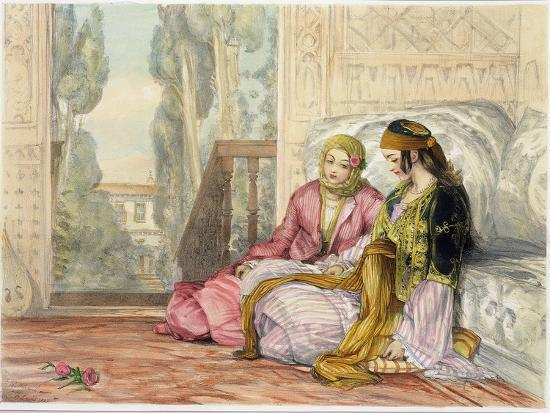 john-frederick-lewis-the-harem-plate-1-from-illustrations-of-constantinople-engraved-by-the-artist-1837