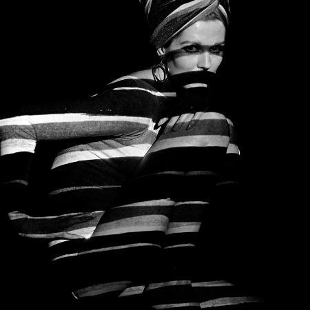john-french-horizontal-stripe-projection-on-model-1960s