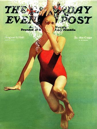 john-hyde-phillips-dunked-under-water-saturday-evening-post-cover-august-9-1941