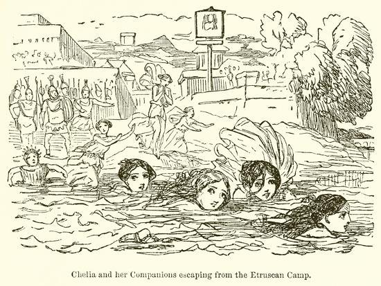 john-leech-claelia-and-her-companions-escaping-from-the-etruscan-camp