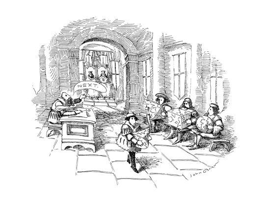 john-o-brien-several-men-sit-in-line-at-a-sort-of-medieval-patent-office-in-a-royal-cou-new-yorker-cartoon