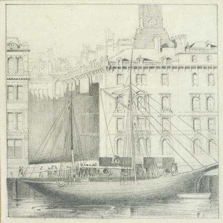 john-r-henderson-quayside-newcastle-pencil-on-card
