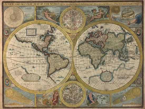 A new and accurat map of the world 1651 giclee print by john speed a new and accurat map of the world 1651 gumiabroncs Image collections