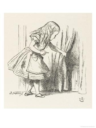 john-tenniel-alice-alice-draws-back-the-curtain-to-reveal-a-little-door