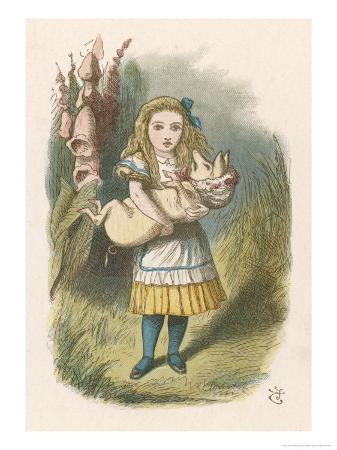 john-tenniel-alice-and-the-pig-alice-carrying-a-baby-pig