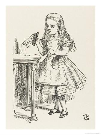 john-tenniel-alice-shrinks-and-stretches-alice-finds-the-bottle-labelled-drink-me