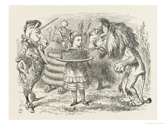 john-tenniel-lion-and-unicorn-alice-with-the-lion-and-the-unicorn-and-a-plum-cake