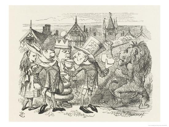 john-tenniel-the-hatter-with-alice-the-white-king-the-rabbit-messenger-and-the-lion