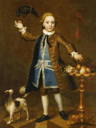 john-theodore-heins-portrait-of-a-boy-holding-a-cherry-to-a-parrot-a-spaniel-to-his-side-with-fruits-on-a-stand