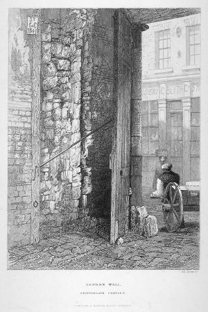 john-wykeham-archer-cripplegate-postern-in-the-churchyard-of-st-giles-without-cripplegate-london-wall-london-1851