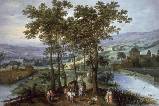 joos-de-momper-and-jan-brueghel-spring-a-landscape-with-elegant-company-on-a-tree-lined-road