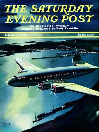 josef-kotula-night-flight-saturday-evening-post-cover-february-4-1939