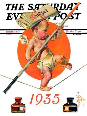 joseph-christian-leyendecker-baby-new-year-balances-the-budget-saturday-evening-post-cover-january-5-1935