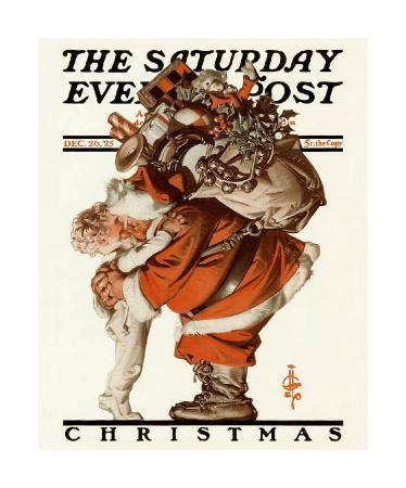 joseph-christian-leyendecker-hug-from-santa-c-1925