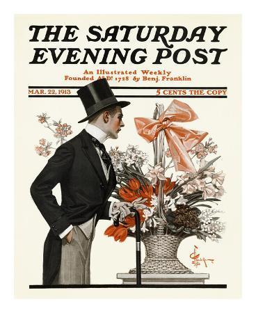 joseph-christian-leyendecker-man-and-basket-of-easter-flowers-c-1913