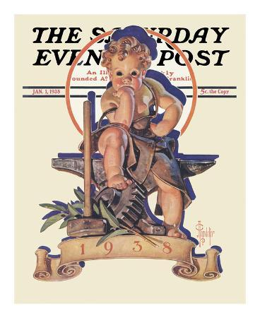 joseph-christian-leyendecker-new-year-s-baby-c-1938-at-the-forge