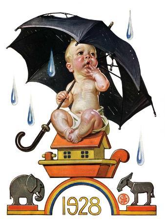 joseph-christian-leyendecker-raining-on-baby-new-year-december-31-1927