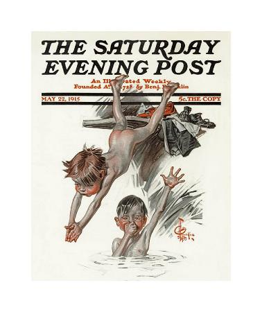 joseph-christian-leyendecker-the-old-swimming-hole-c-1915